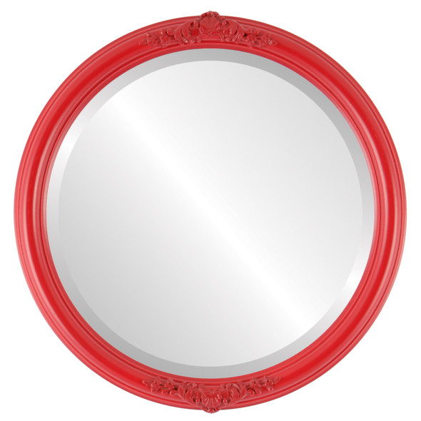 Beveled Mirror - Contessa Round Frame - Holiday Red
