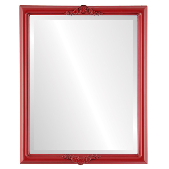 Beveled Mirror - Contessa Rectangle Frame - Holiday Red