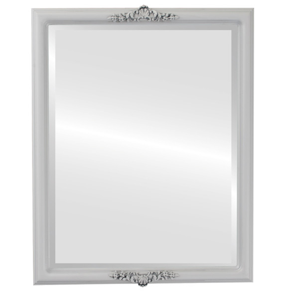 Beveled Mirror - Contessa Rectangle Frame - Linen White