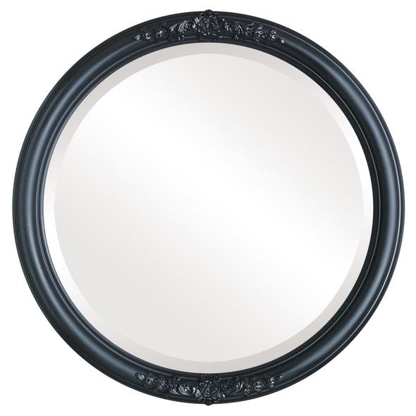 Beveled Mirror - Contessa Round Frame - Matte Black