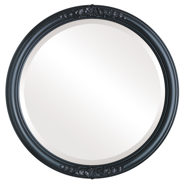 Beveled Mirror - Contessa Round Frame - Matte Black