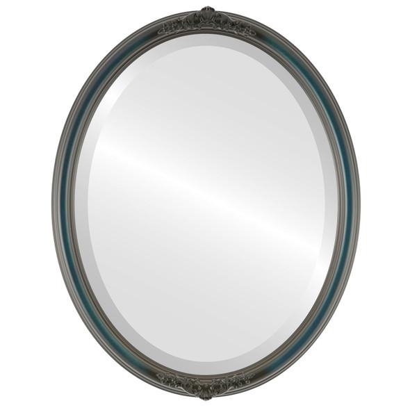 Beveled Mirror - Contessa Oval Frame - Royal Blue