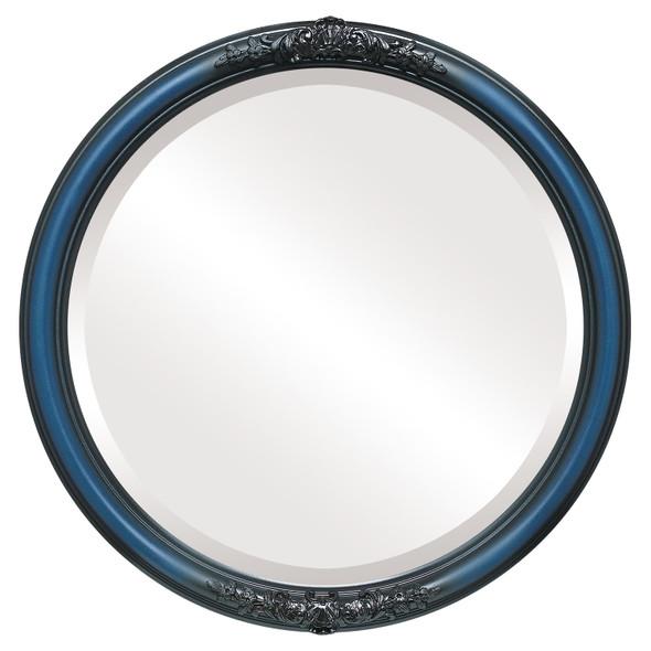 Beveled Mirror - Contessa Round Frame - Royal Blue
