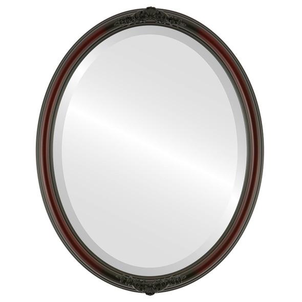 Beveled Mirror - Contessa Oval Frame - Rosewood