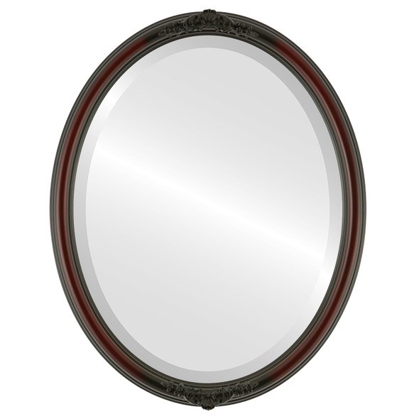 Beveled Mirror - Contessa Oval Frame - Rosewood