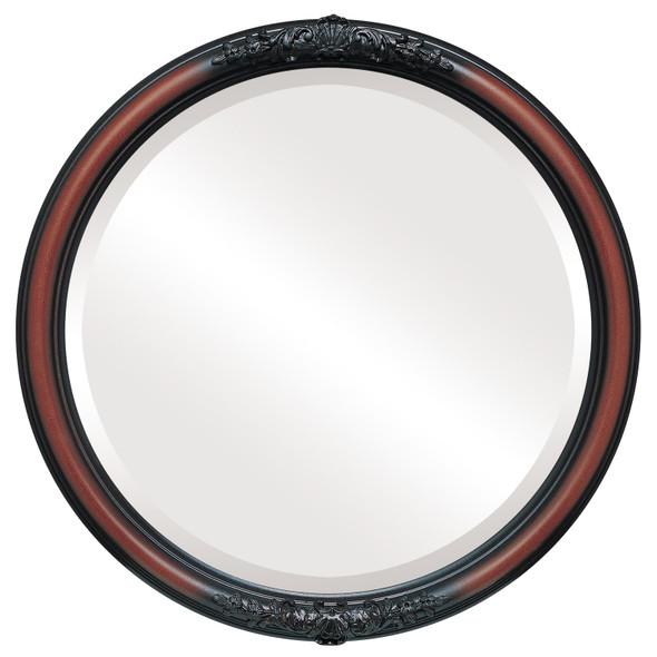 Beveled Mirror - Contessa Round Frame - Rosewood