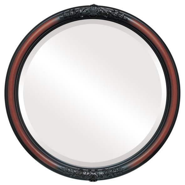 Beveled Mirror - Contessa Round Frame - Rosewood