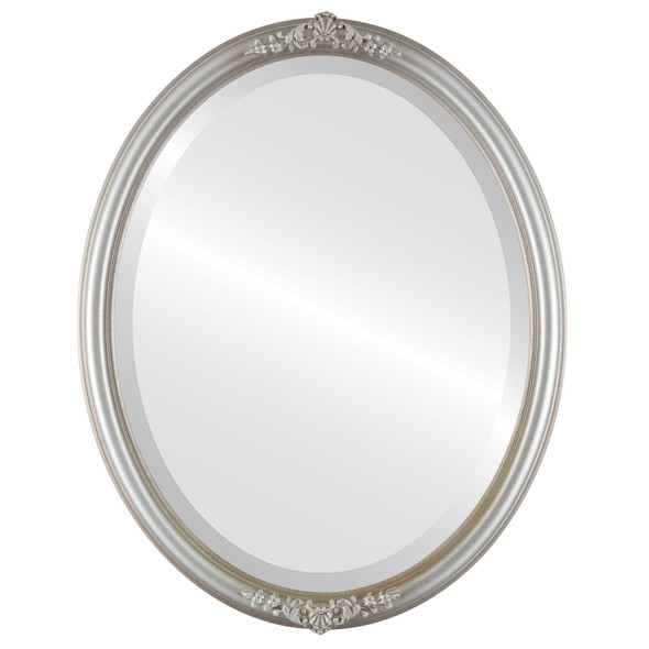 Beveled Mirror - Contessa Oval Frame - Silver Shade