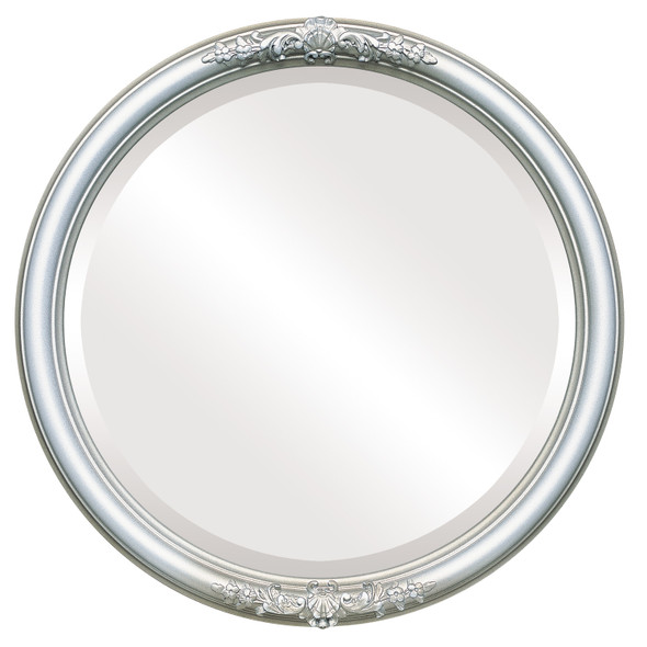 Beveled Mirror - Contessa Round Frame - Silver Shade