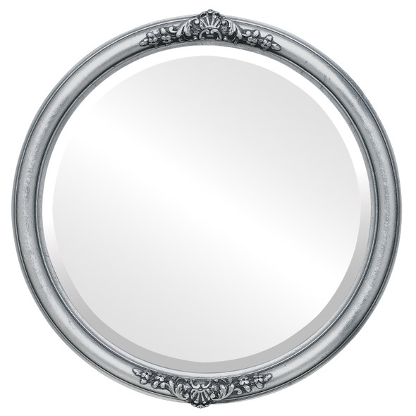 Beveled Mirror - Contessa Round Frame - Silver Leaf with Black Antique