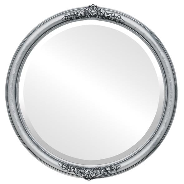 Beveled Mirror - Contessa Round Frame - Silver Leaf with Black Antique