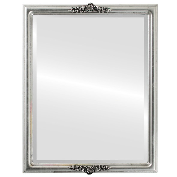 Beveled Mirror - Contessa Rectangle Frame - Silver Leaf with Black Antique