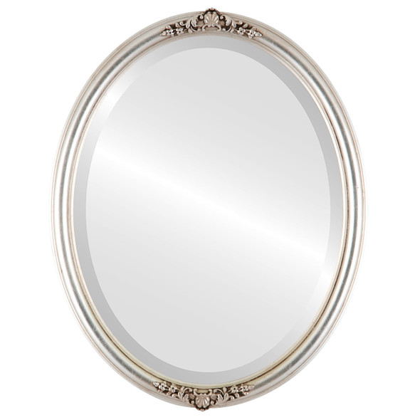 Beveled Mirror - Contessa Oval Frame - Silver Leaf with Brown Antique