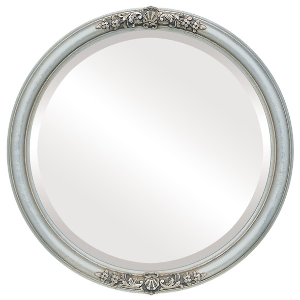 Beveled Mirror - Contessa Round Frame - Silver Leaf with Brown Antique