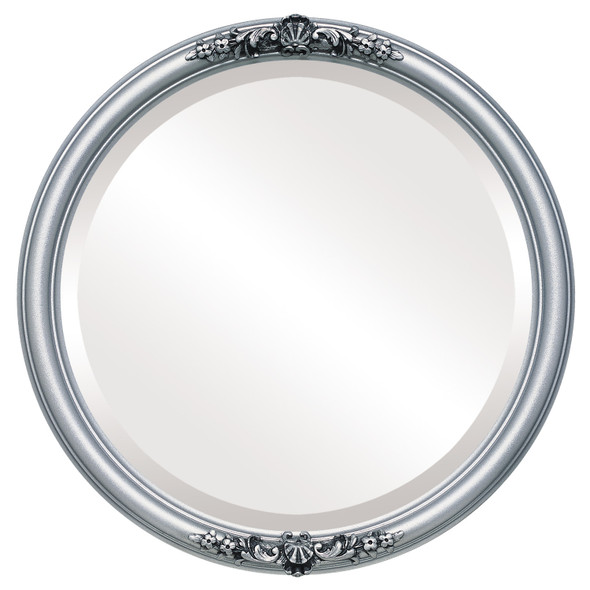 Beveled Mirror - Contessa Round Frame - Silver Spray