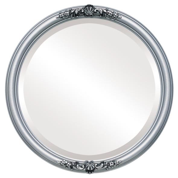 Beveled Mirror - Contessa Round Frame - Silver Spray