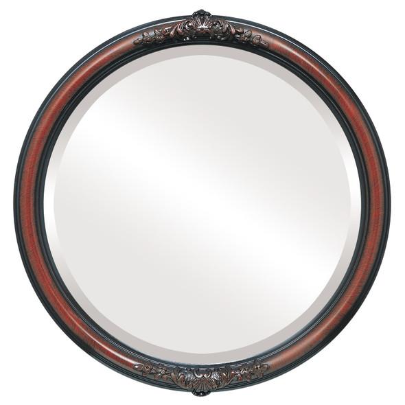 Beveled Mirror - Contessa Round Frame - Vintage Cherry