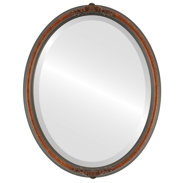 Beveled Mirror - Contessa Oval Frame - Vintage Walnut