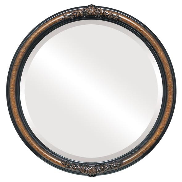 Beveled Mirror - Contessa Round Frame - Vintage Walnut
