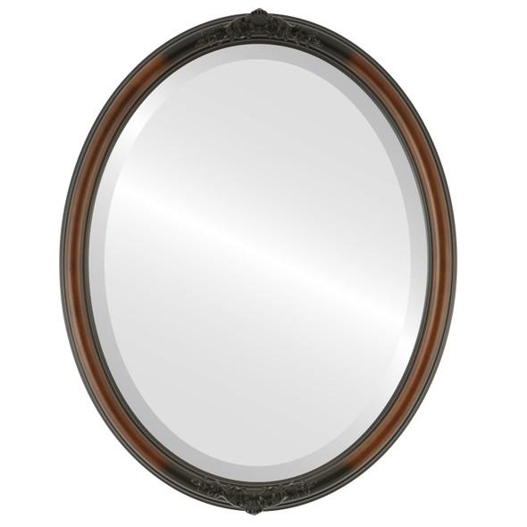 Beveled Mirror - Contessa Oval Frame - Walnut