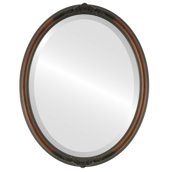 Beveled Mirror - Contessa Oval Frame - Walnut