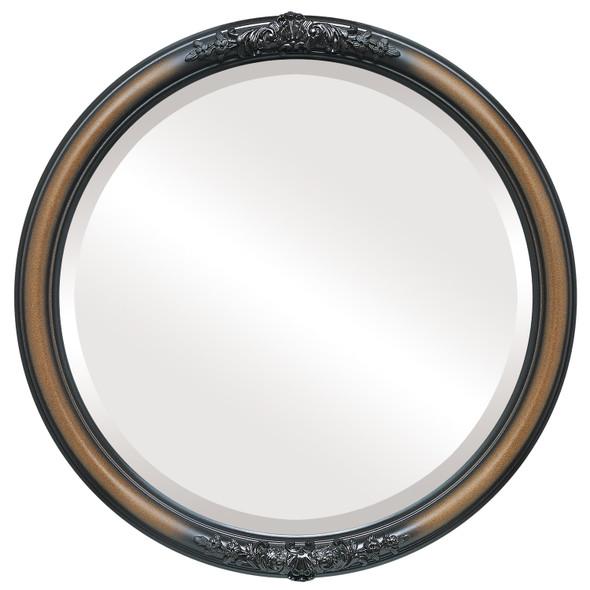 Beveled Mirror - Contessa Round Frame - Walnut