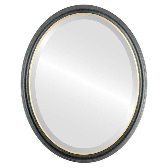 Beveled Mirror - Hamilton Oval Frame - Black Silver with Gold Lip
