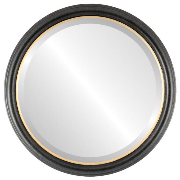 Beveled Mirror - Hamilton Round Frame - Black Silver with Gold Lip
