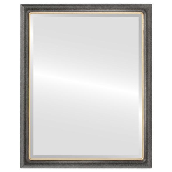 Beveled Mirror - Hamilton Rectangle Frame - Black Silver with Gold Lip