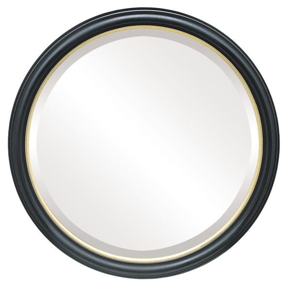 Beveled Mirror - Hamilton Round Frame - Gloss Black with Gold Lip