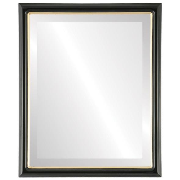 Beveled Mirror - Hamilton Rectangle Frame - Gloss Black with Gold Lip