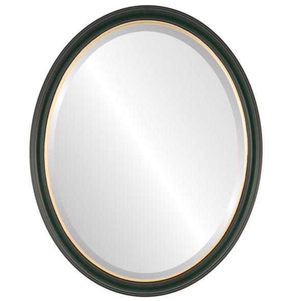 Beveled Mirror - Hamilton Oval Frame - Hunter Green with Gold Lip