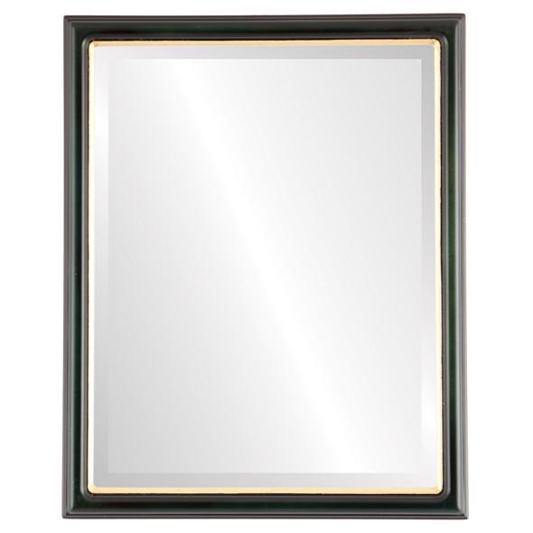 Beveled Mirror - Hamilton Rectangle Frame - Hunter Green with Gold Lip