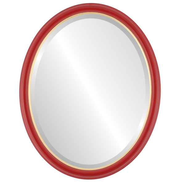 Beveled Mirror - Hamilton Oval Frame - Holiday Red with Gold Lip