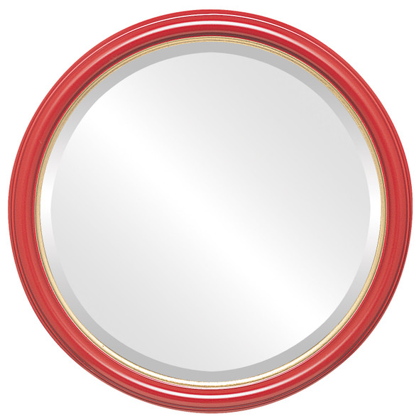 Beveled Mirror - Hamilton Round Frame - Holiday Red with Gold Lip