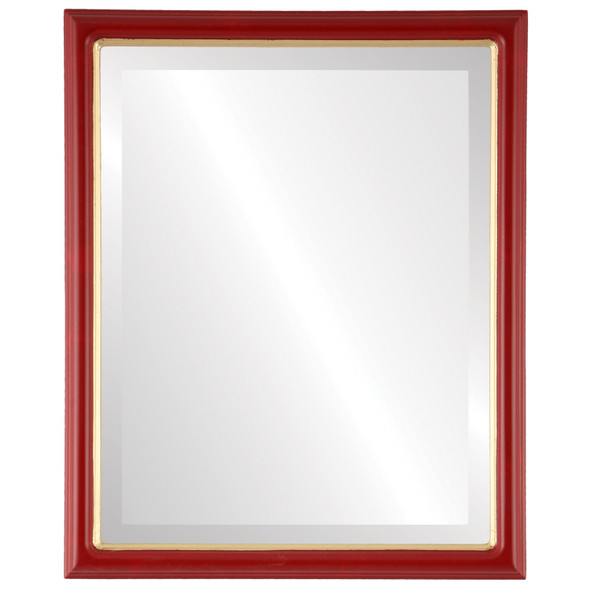 Beveled Mirror - Hamilton Rectangle Frame - Holiday Red with Gold Lip