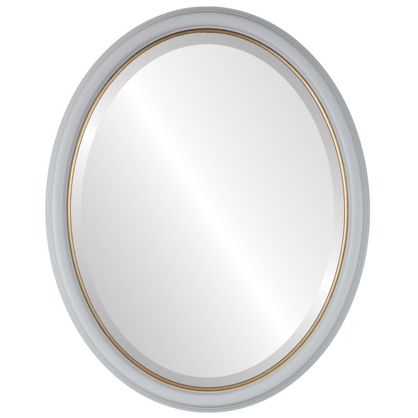 Hamilton Framed Oval Mirror - Linen White with Gold Lip