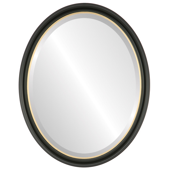 Beveled Mirror - Hamilton Oval Frame - Matte Black with Gold Lip