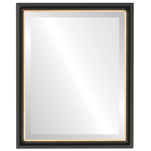 Beveled Mirror - Hamilton Rectangle Frame - Matte Black with Gold Lip