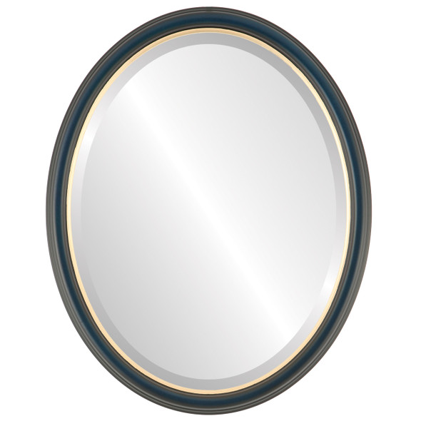Beveled Mirror - Hamilton Oval Frame - Royal Blue with Gold Lip