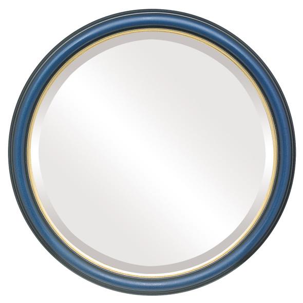 Beveled Mirror - Hamilton Round Frame - Royal Blue with Gold Lip