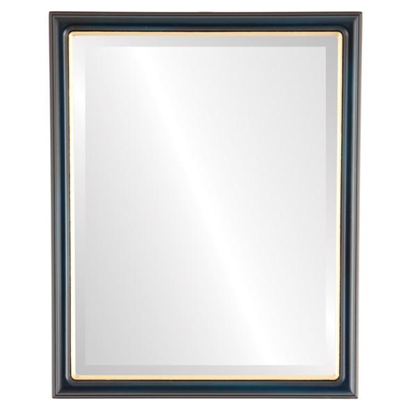 Beveled Mirror - Hamilton Rectangle Frame - Royal Blue with Gold Lip