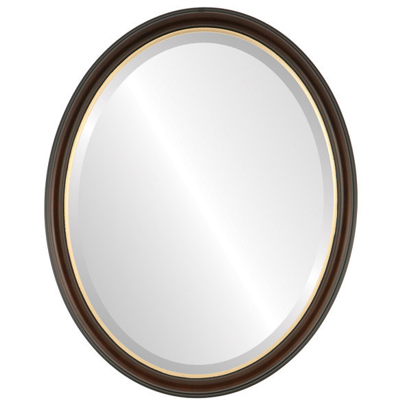 Beveled Mirror - Hamilton Oval Frame - Rosewood with Gold Lip