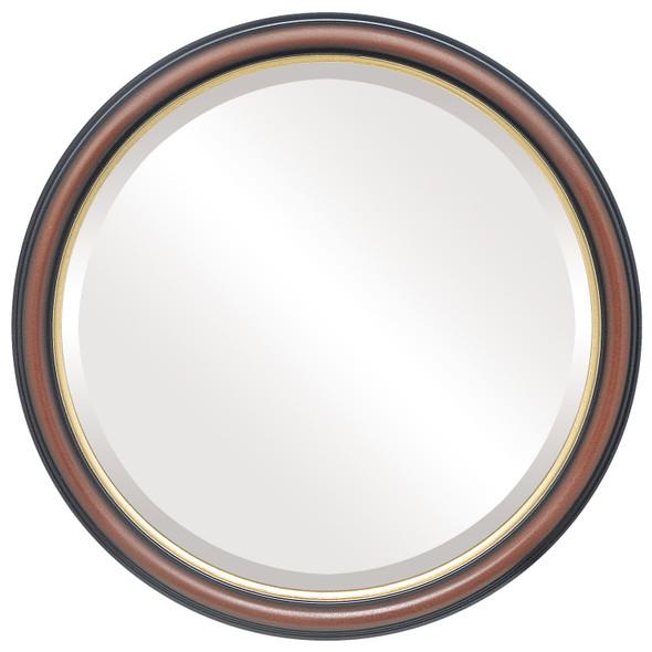 Beveled Mirror - Hamilton Round Frame - Rosewood with Gold Lip