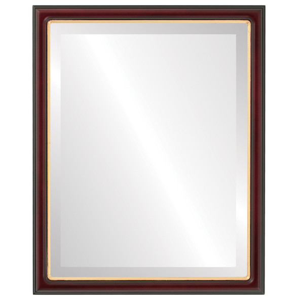 Beveled Mirror - Hamilton Rectangle Frame - Rosewood with Gold Lip