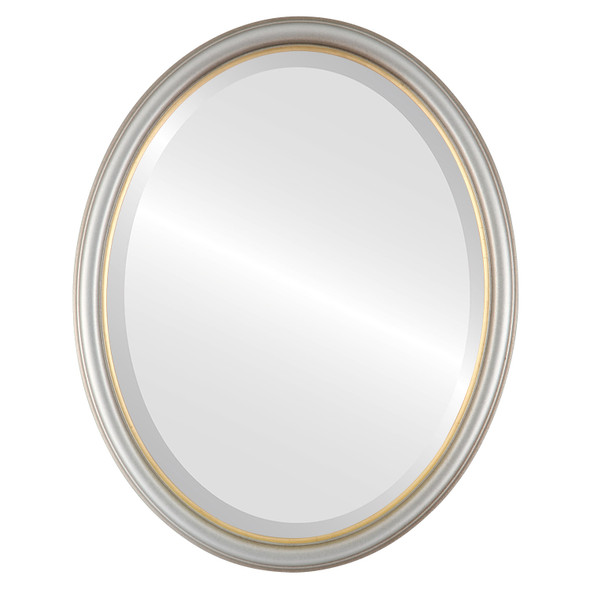Beveled Mirror - Hamilton Oval Frame - Silver Shade with Gold Lip