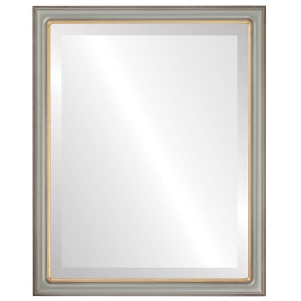 Beveled Mirror - Hamilton Rectangle Frame - Silver Shade with Gold Lip