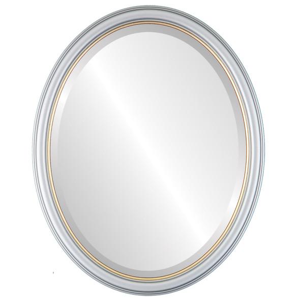 Beveled Mirror - Hamilton Oval Frame - Silver Spray with Gold Lip