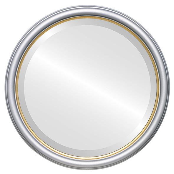 Beveled Mirror - Hamilton Round Frame - Silver Spray with Gold Lip