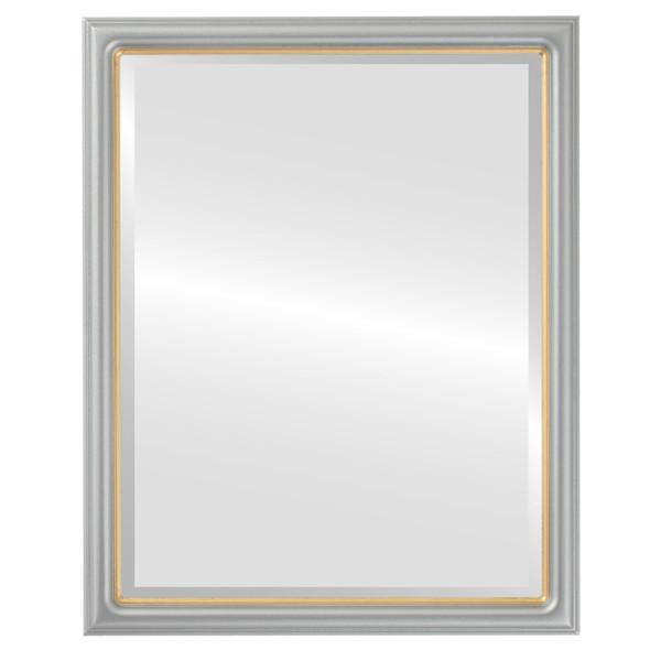 Beveled Mirror - Hamilton Rectangle Frame - Silver Spray with Gold Lip